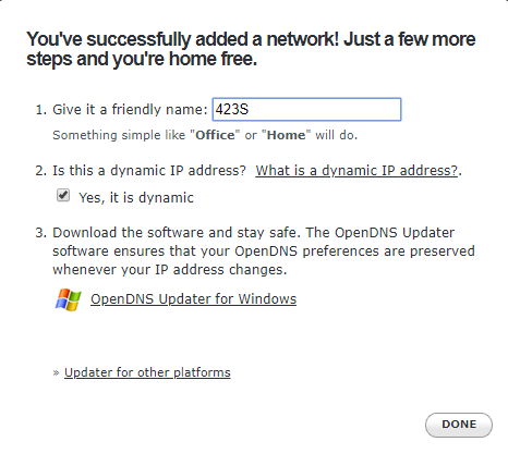 opendns add network 2