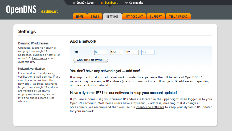 opendns add network